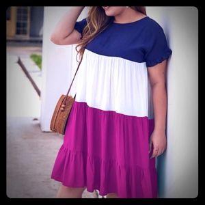 Color block smock dress.